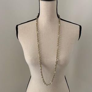 "J.Crew Brass Chain w/Enamel Necklace 37"" long"